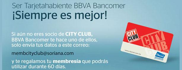 Bancomer te regala membresía de 60 días para City Club