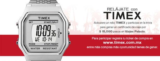 Relájate con Timex, gana certificado de $15,000 en Viajes Palacio
