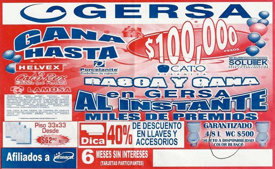 Muebles Para Baño Gersa Aguascalientes: 100,000 pesos y dinero en efectivo con Gersa