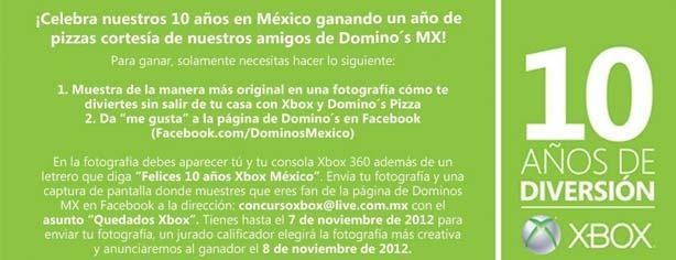 Concurso Xbox aniversario: Gana un año de pizzas Dominos