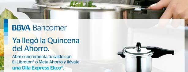 Promoción El Libretón Bancomer Olla Express gratis en la quincena del ahorro