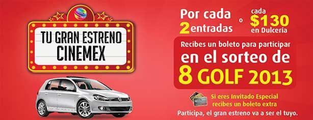 Concurso Tu Gran Estreno de Cinemex, gánate uno de los 8 Golf 2013