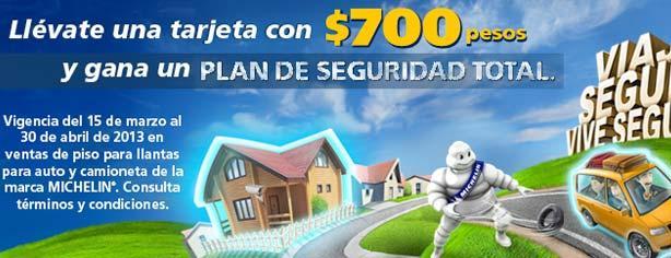 Michelin te regala una tarjeta de $700 pesos en la compra de 4 llantas