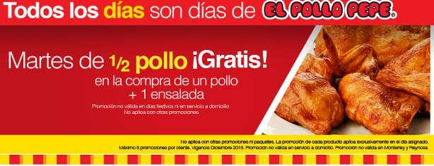 Oferta Martes de 1/2 pollo gratis en El Pollo Pepe