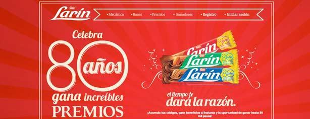 Promoción Larín 80 Años: registra tu código en www.larin.com.mx y gana premios