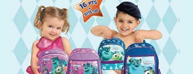 Promoción Kleen Bebé y Huggies puntos Monsters Inc., canjea tus puntos por mochilas y loncheras