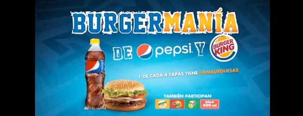 Promoción Burgermanía de Pepsi y Burger King: canjea tus tapas amarillas por hamburguesas gratis