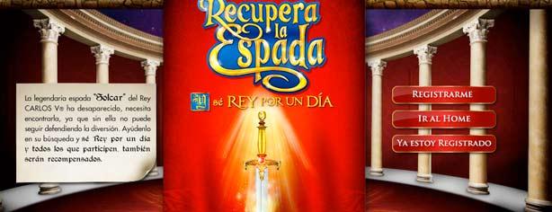 Promoción Carlos V Recupera la Espada y sé Rey por un Día: registra tu código y gana