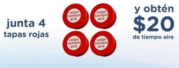 Promoción Ciel tapas rojas, canjea 4 tapas por $20 de tiempo aire