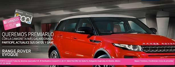 Sorteo Actualización de Datos Liverpool 2013: gana camioneta Range Rover Evoque 2013