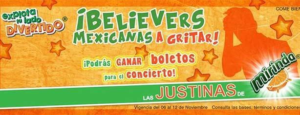 Boletos gratis para el concierto de Justin Bieber en México cortesía de Mirinda