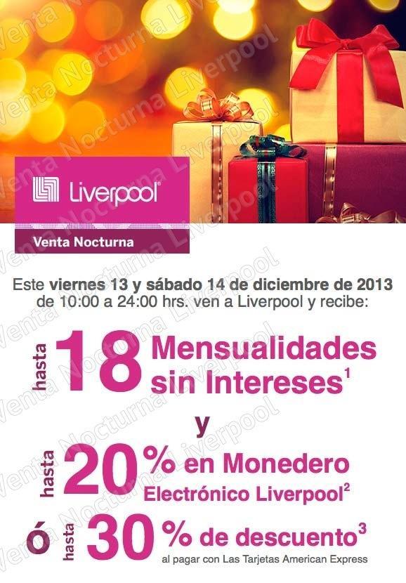 Venta Nocturna Liverpool 13 y 14 de diciembre: 20% en monedero y 18 ...