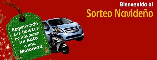 Sorteo Navideño Comex 2013: Registra tu boleto y gana autos Spark y motonetas Yamaha