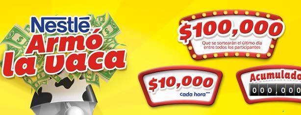Promoción Nestlé Se Armó la Vaca, gana 10 mil cada hora en www.searmolavaca.com.mx