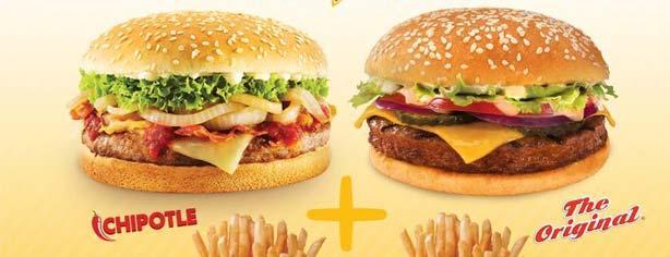 Promoción Sixties Burger Dúos: 2 hamburguesas con papas por $99