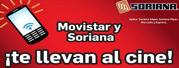 Promoción Movistar y Soriana, recarga $100 y obtén entradas gratis para Cinemex