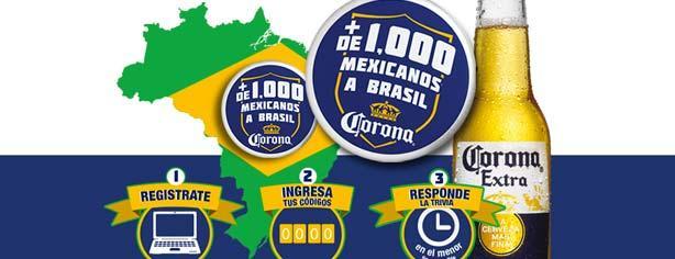 Promoción Corona Más de 1000 mexicanos a Brasil: Registra tus códigos y gana viajes al Mundial