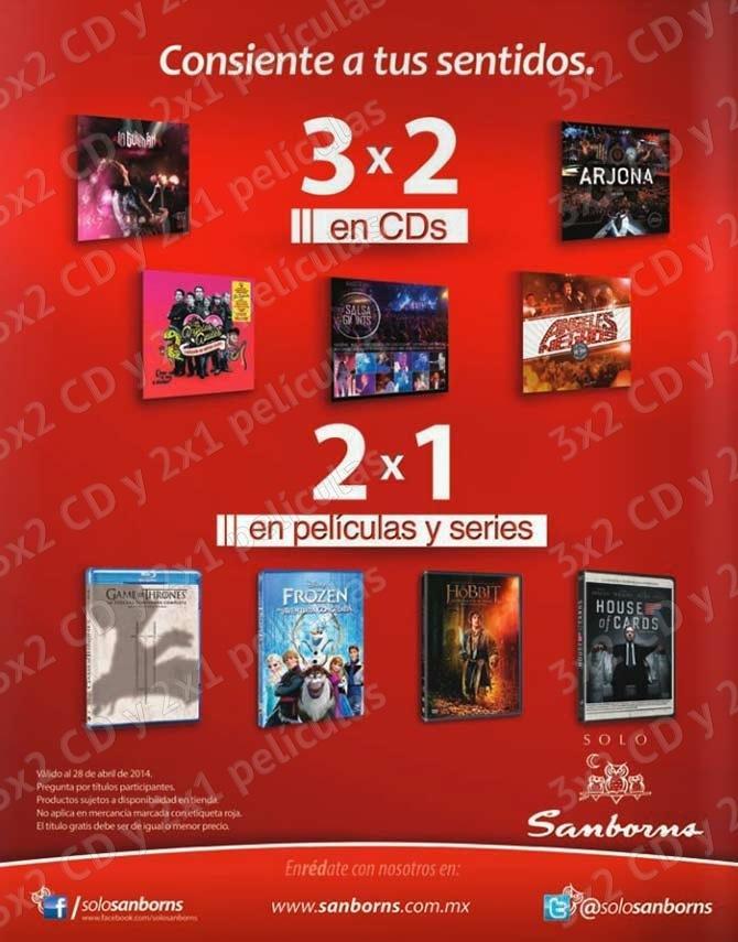 Promoci n sanborns disfruta del 3x2 en cd s y 2x1 en for Sanborns de los azulejos tiene estacionamiento