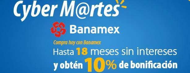 Cyber Martes Banamex walmart.com.mx 6 de mayo: 10% de