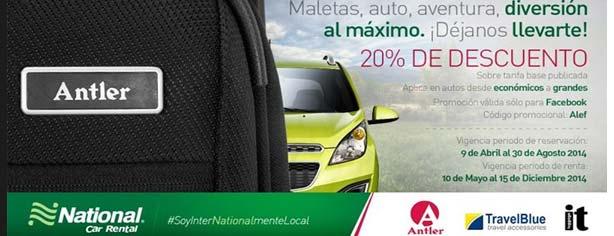 Promoción National Car Rental México: 20% de descuento en renta de autos
