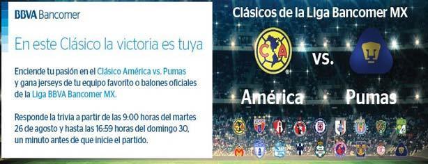 Concurso Bancomer BBVA: gana jersey de tu equipo con el clásico América VS Pumas