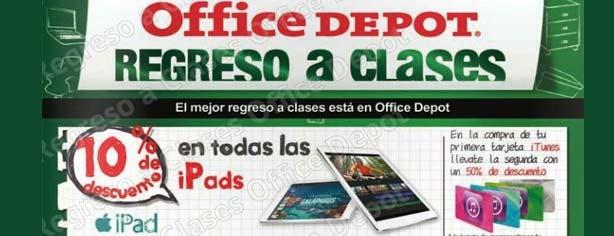 Promoción Office Depot Regreso a Clases: 10% de descuento en todas las iPads