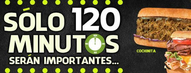 Promoción Quiznos: subs gratis de 2 a 4 PM