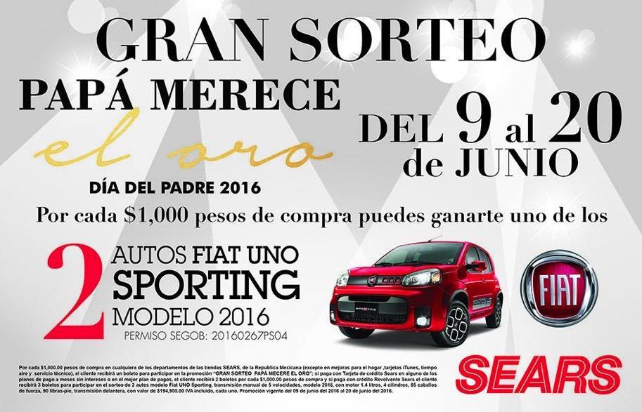 Sorteo Sears Día del Padre 2016: Gana uno de los 2 autos