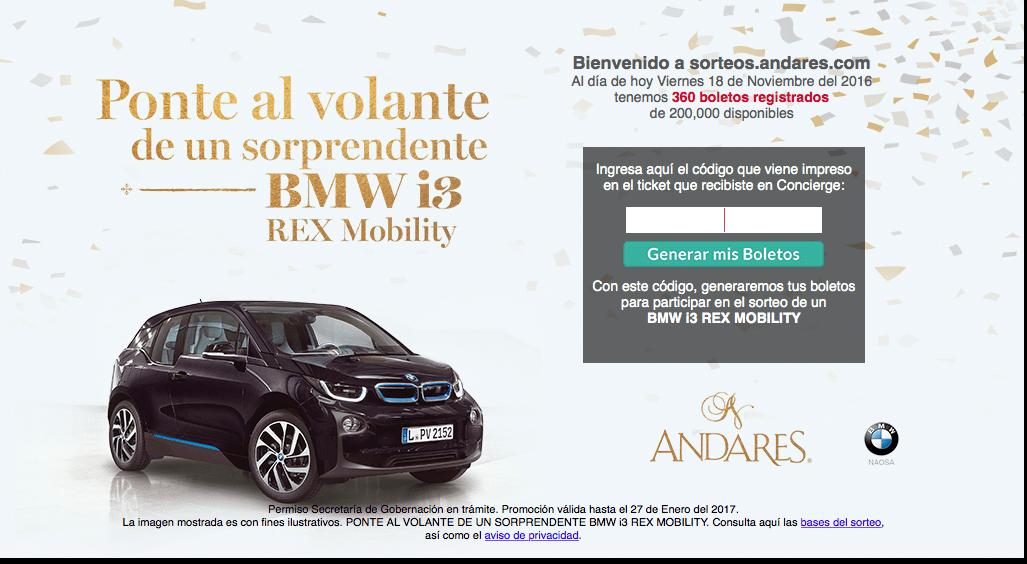 Sorteo Buen Fin 2016 Andares: Gana un auto eléctrico BMW i3