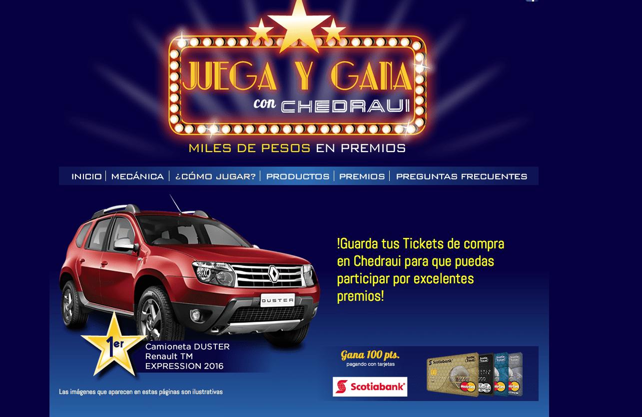 Promoción Chedraui Juega y Gana 2016: Gana auto Renault Duster y muchos premios más en juegaygana.bitam.com