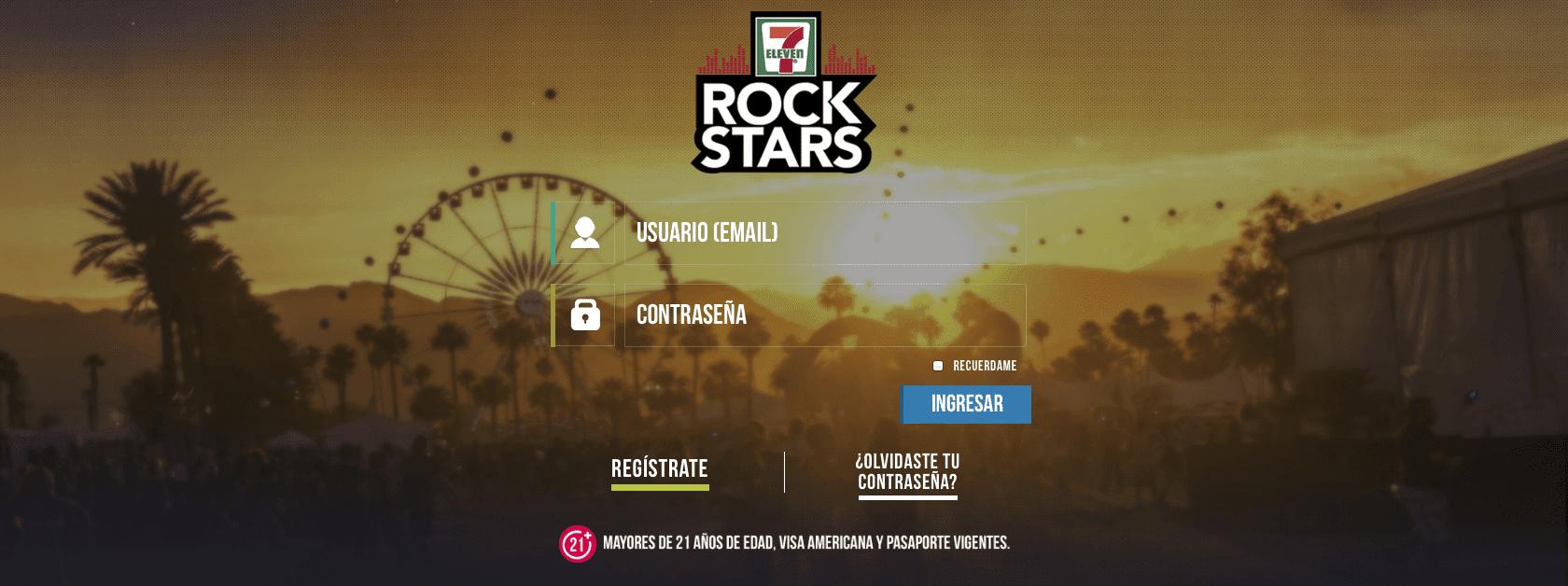 Promoción 7-Eleven Rock Stars: Registra tus tickets en 7-elevenrockstars.com y gana viaje al festival Desert Trip