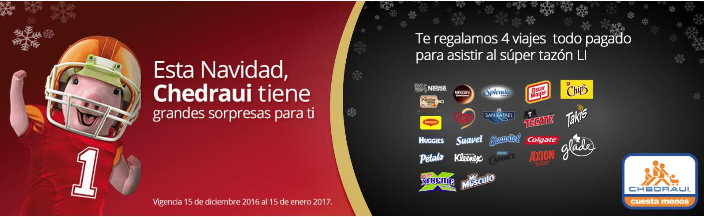 Promoción Chedraui Navidad 2016: Gana viaje al Super Bowl 51 en chedraui.com.mx