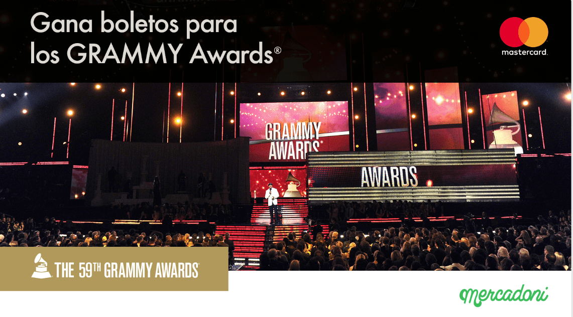 Gana con Mercadoni boletos para los Grammy Awards