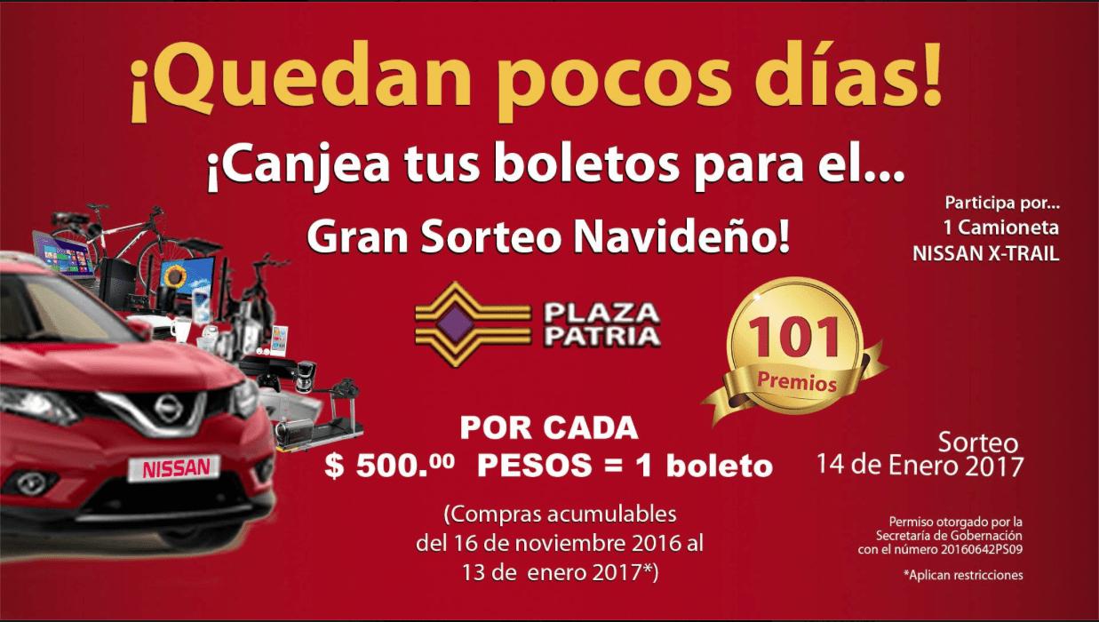 Sorteo Navideño Plaza Patria 2016: Gana una Nissan X-Trail 2017 o uno de los 101 premios
