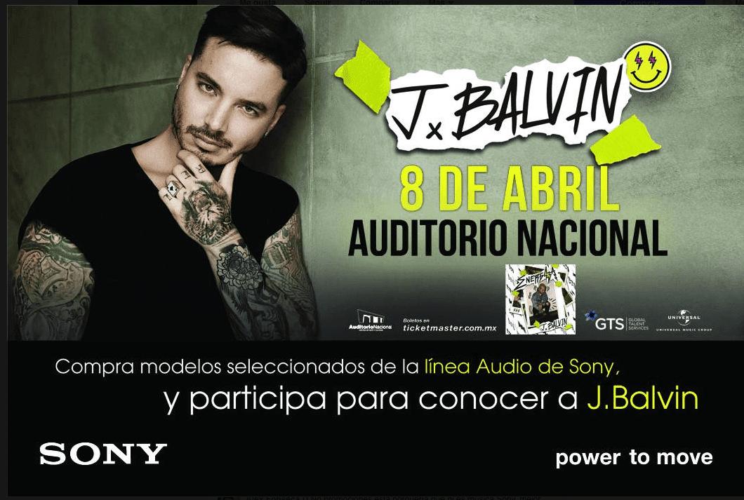 Sony México te lleva al concierto de J Balvin este 8 de Enero del 2017 en el Auditorio Nacional
