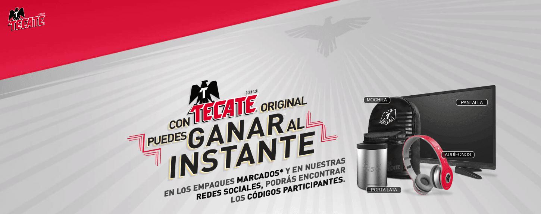 Promoción Tecate Gana al Instante: registra tu código y gana pantallas, audífonos, mochilas y más en tecate.com.mx