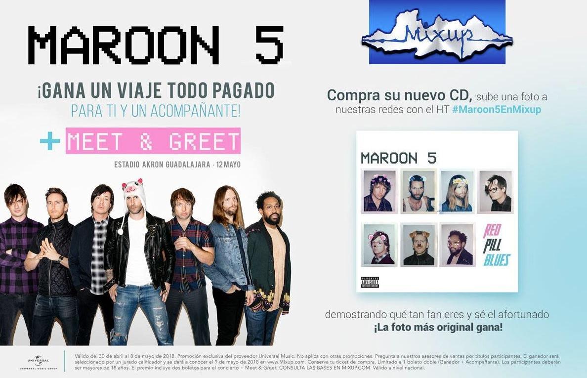 Gana viaje al concierto y meet greet con maroon 5 cortesa de mixup m4hsunfo