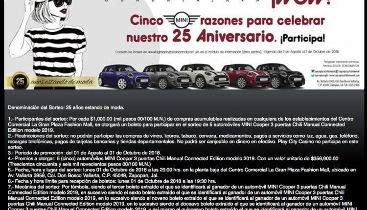 Sorteo La Gran Plaza 25 Aniversario: Gana 1 de 5 autos Mini Cooper