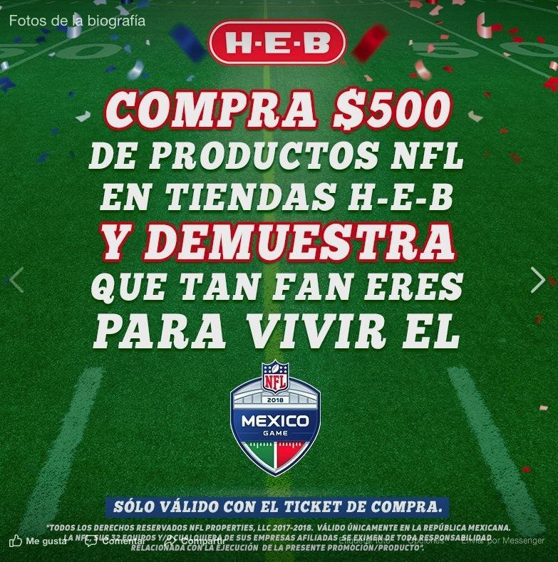 6cfa5ea5dee65 Gana boletos para el partido de la NFL en México con HEB