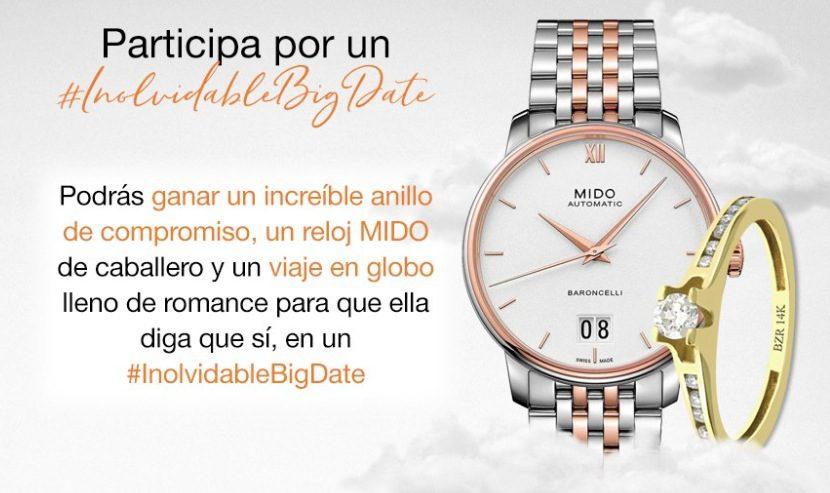 246469f4cb28 Concurso Joyerías Bizzarro y relojes Mido  InolvidableBigDate  Gana anillo  de compromiso