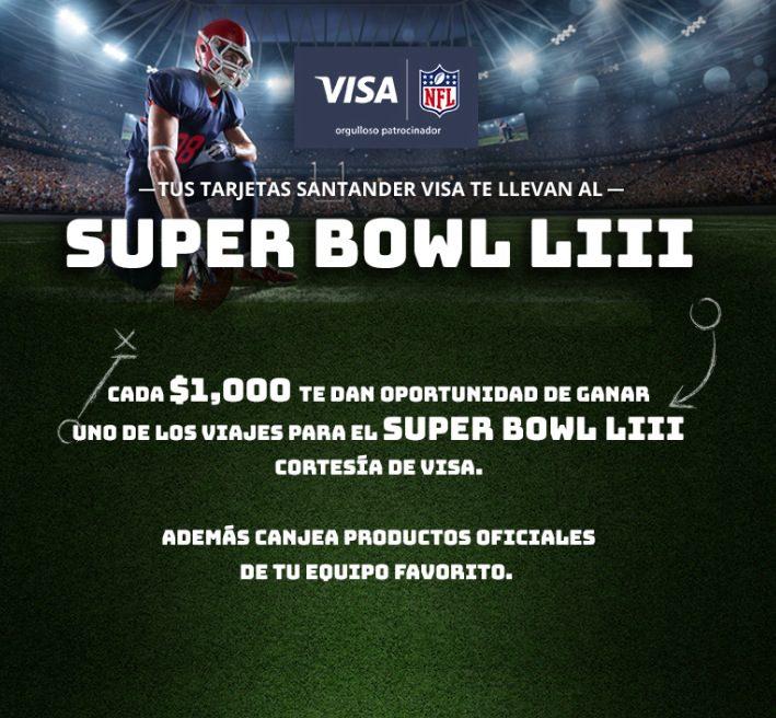 d625d66c81c75 Promoción Santander Visa NFL  Gana uno de los 5 viajes a Atlanta al Super  Bowl LIII
