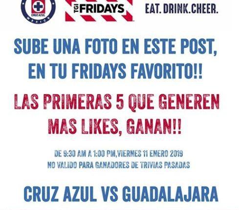 Gana boletos para el Cruz Azul Chivas en el concurso rápido de TGI Fridays