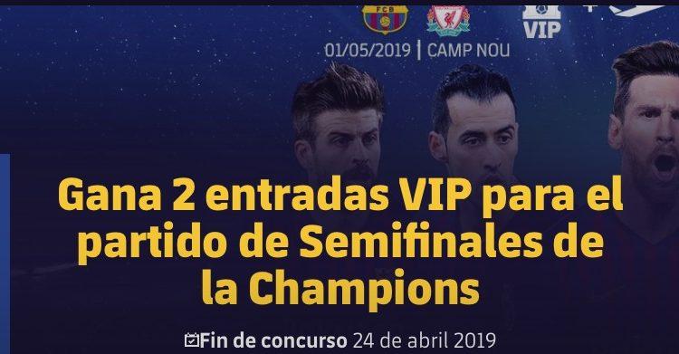 Concurso FC Barcelona: Gana viaje y entradas VIP para el partido de Semifinales de la Champions Barcelona vs Liverpool
