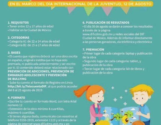 """Concurso Juvenil de Cuento Breve 2019 """"Te lo cuento de Volada"""": Gana reconocimientos y laptop, tablet o kit de libros"""