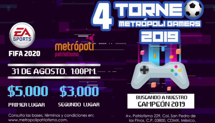 Torneo FIFA 2020 Metrópoli Patriotismo Gamers 2019: Gana hasta $5,000 pesos