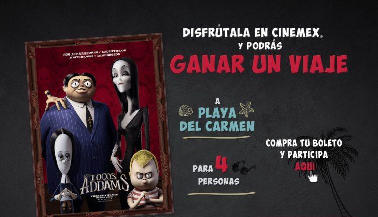 Promoción Cinemex Los Locos Addams: Gana un viaje para 4 personas a Playa del Carmen