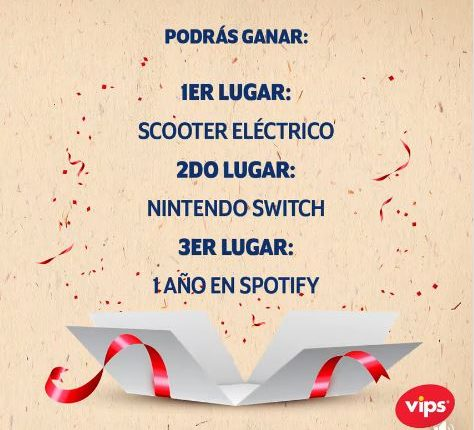 Concurso Vips Sandwich que Enamora: Gana scooter, Nintendo Switch o 1 año de Spotify