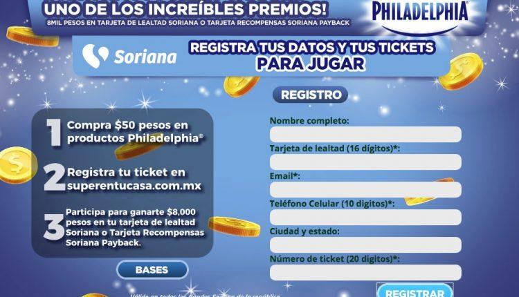 Promoción Soriana tarjeta Recompensas y Philadelphia: Gana $8,000 en dinero electrónico en superentucasa.com