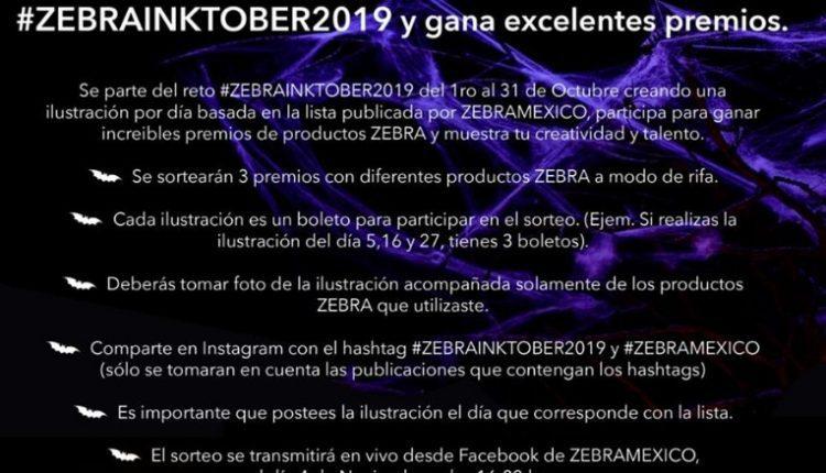 Concurso Zebra Inktober 2019: Gana paquetes de productos