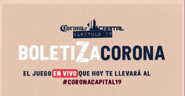 Concurso Boletiza Corona: Gana boletos para el Festival Corona Capital 2019